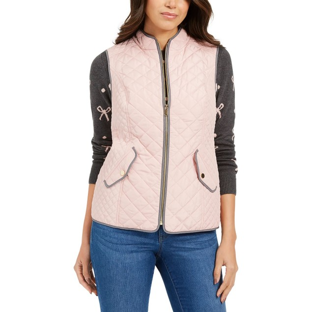 Charter Club Women's Quilted Stand-Collar Vest Pink Size Extra Small