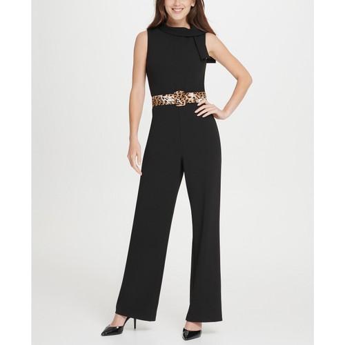 DKNY  Women's  Tie Neck Leopard Belt Jumpsuit Black Size 14