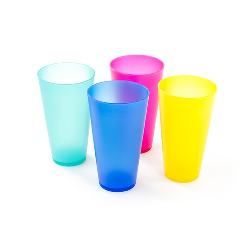 4 Pack Colorful Reusable Plastic Cups - Cute Plastic Drinkware