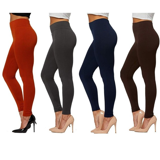 4-Pack Women's Basic Premium Fleece-Lined Leggings