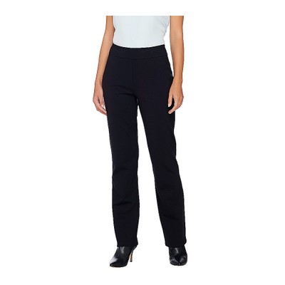 Linea by Louis Dell'Olio Regular Pull-On Super Ponte Knit Pants, 10, Black