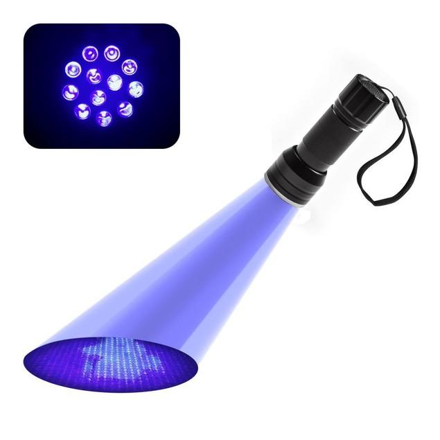 HK® 12LED UV Flashlight Handheld Blacklight Stain Money Detector Light