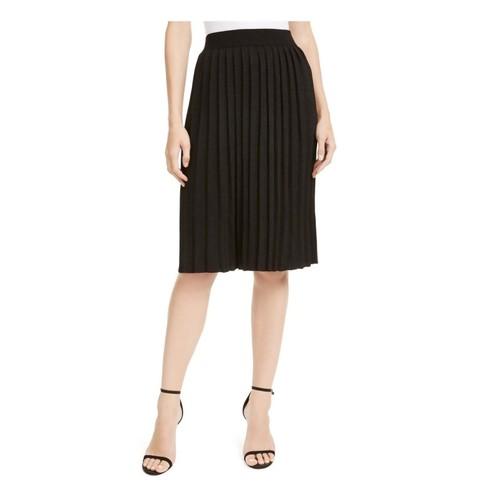 Anne Klein Women's Glitter Knee Length Pleated Skirt Black Size M