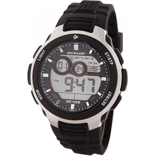 Dunlop DUN232G01 Plastic Case Silver/Black Rubber Mineral Men´s Watch