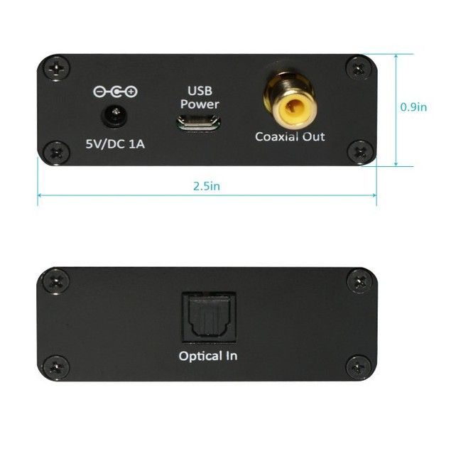 Toslink Optical to Coaxial Digital Audio Converter Dolby Digital  DTS 5.1