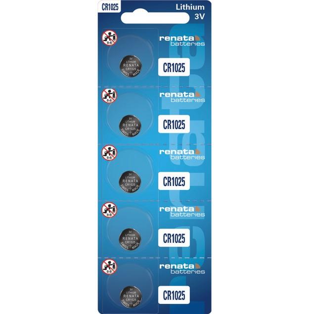 Renata CR1025 Lithium Coin Cell Batteries (5 Batteries)