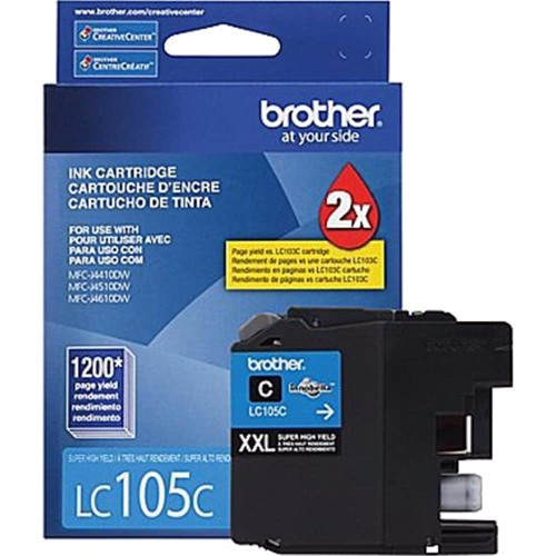 Brothers Brother Genuine LC105C Super High Yield XXL Cyan Ink Cartridges