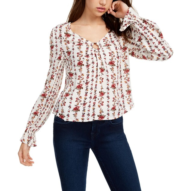 Freshman Junior's Floral Printed O Ring Top Natural Size X-Small