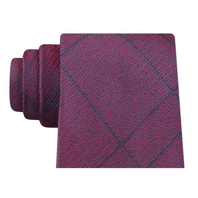 Calvin Klein Men's Slim Knit Plaid Silk Tie Maroon Size Regular