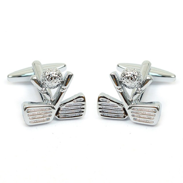 "Silver-tone ""Golf"" Brass Cufflinks"