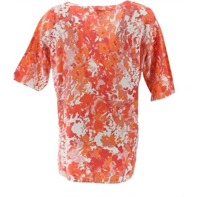 Denim & Co. Floral Print V-Neck Button Front Cardigan, Large, Coral Multi