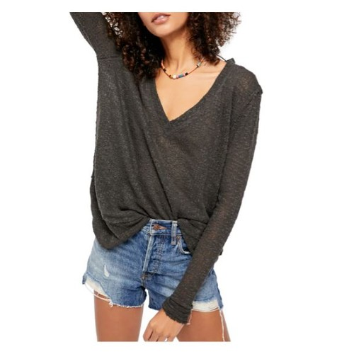 Free People Women's Ocean Air Hacci Pullover Black Size X-Small