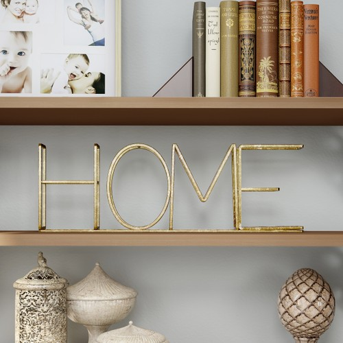 """""""HOME"""" Metal Cutout Free-Standing Table Top Sign"""