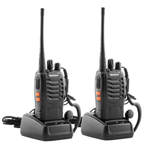 5W 400-470MHz Handheld Walkie Talkie Black (2Pcs/Pair)
