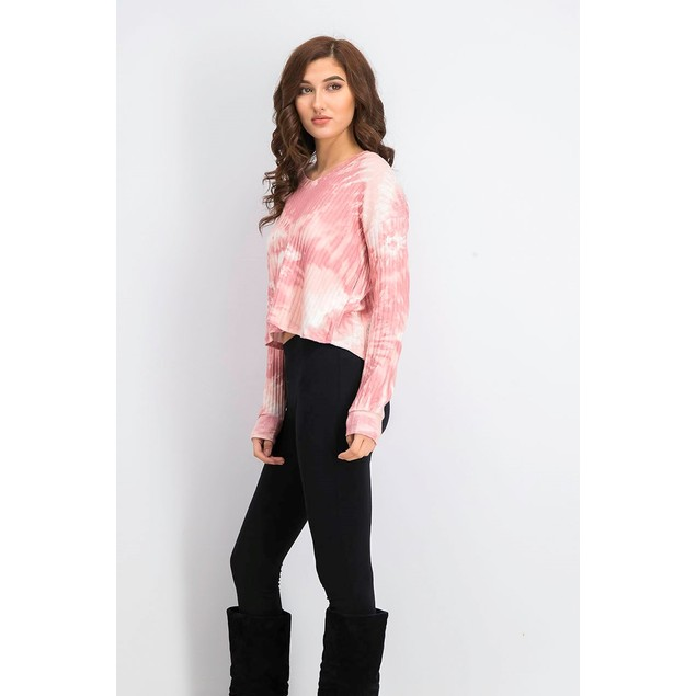 Crave Fame Juniors' Cozy Ribbed Tie-Dyed Top Pink Size Medium