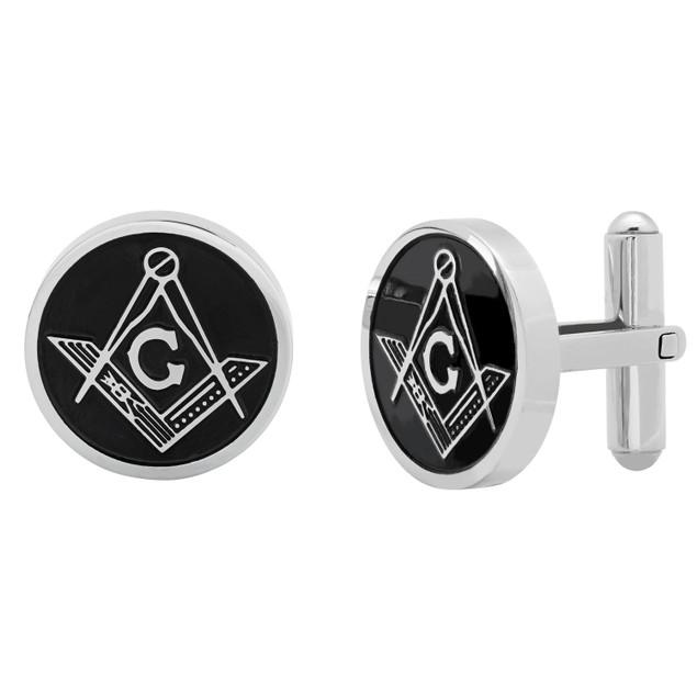 Men's black ip and Stainless Steel Masonic Cufflinks