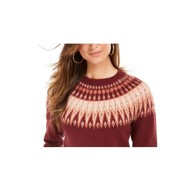 Style & Co Women's Fair Isle Crewneck Sweater Red Size Large