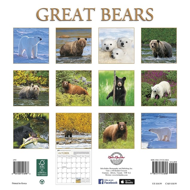 Great Bears Wall Calendar, Bears by Bela Baliko Photography