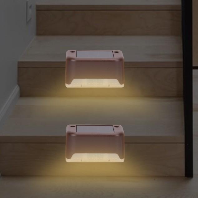 4-Pack Brown Solar Waterproof Step Light Outdoor Fence Light