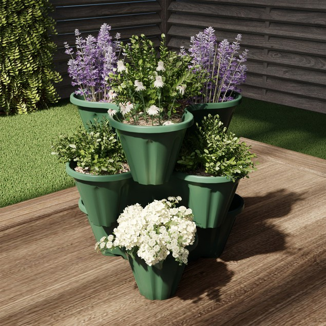 Stacking Planter Tower- 3-Tier Space Saving Flower Pots- Set of 3