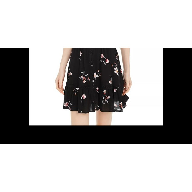 American Rag Juniors' Floral-Print Pintuck Dress Black Size Medium