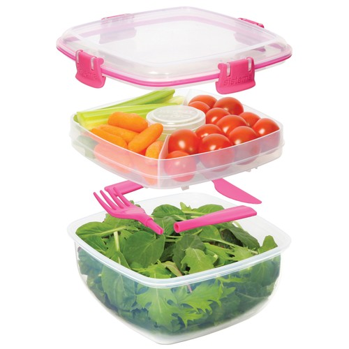 Sistema Salad To Go 1.1L Lunch Box Food Container w/ Removeable Tray &