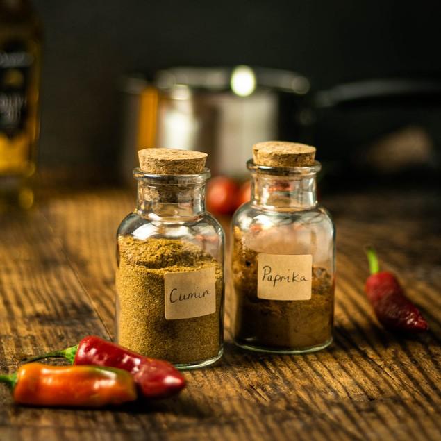 Set of 12 Spice Jars with Cork Lid - 150ml | MandW