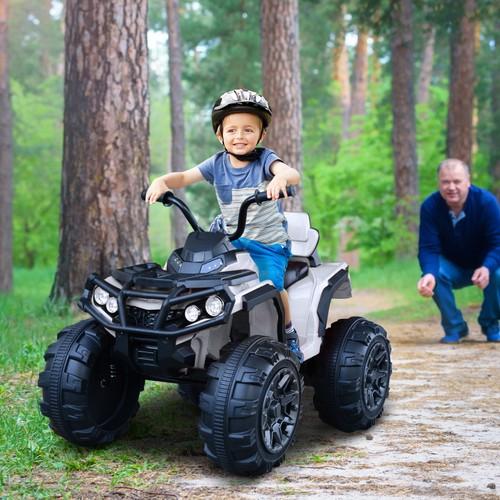 Outdoor Fun Driving ATV Car w/ Music/Radio Player& Smooth Suspension White