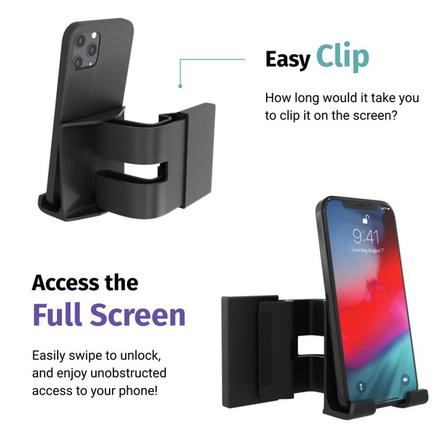 Computer Screen Phone Mount, Clips on Screen, No Assembly Required