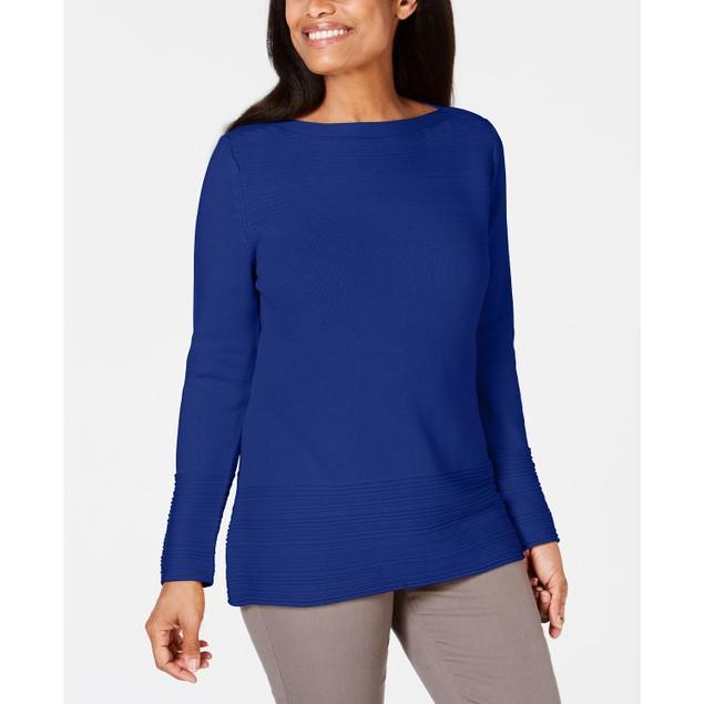 Karen Scott Women's Cotton Boat Neck Sweater Navy Size X-Large