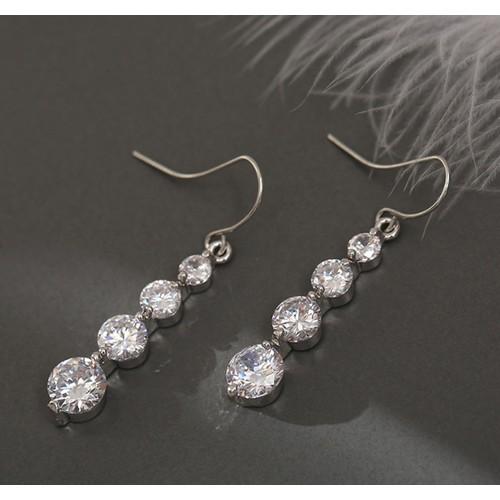 4 Row Graduated Crystal Drop Earrings