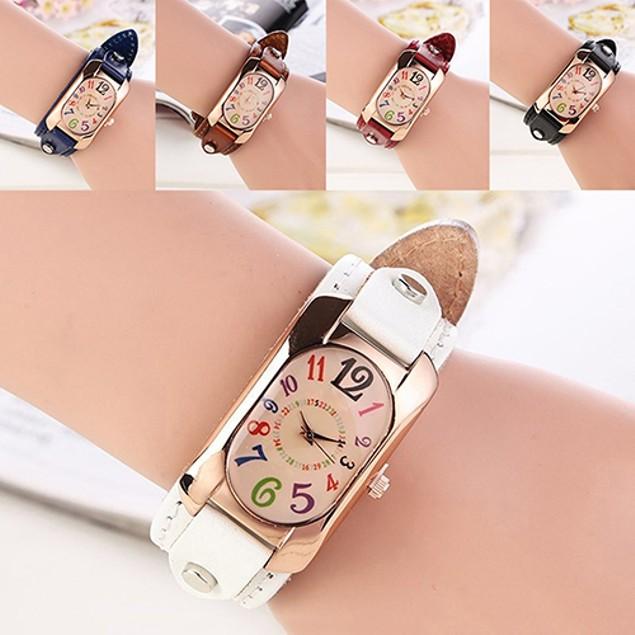 Women Fashion Faux Leather Strap Case Quartz Wrist Watch