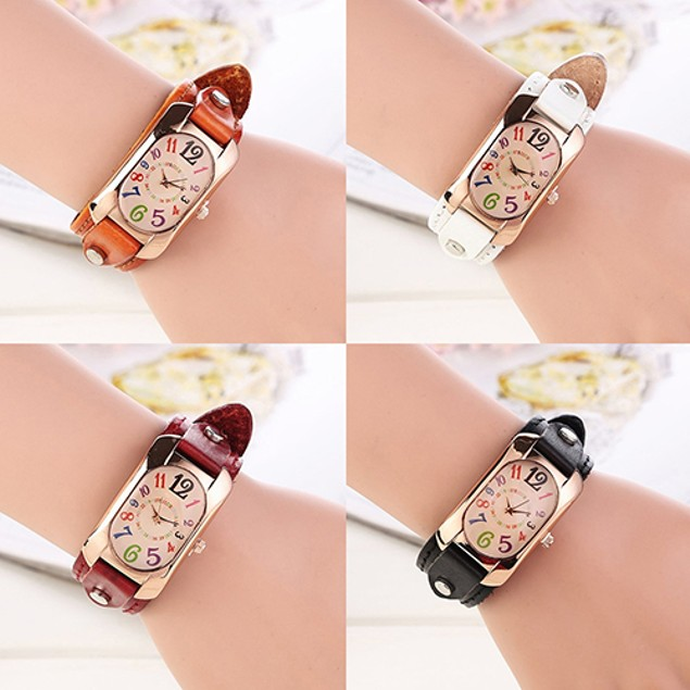 Women Fashion Faux Leather Strap Case Quartz Wrist Watch