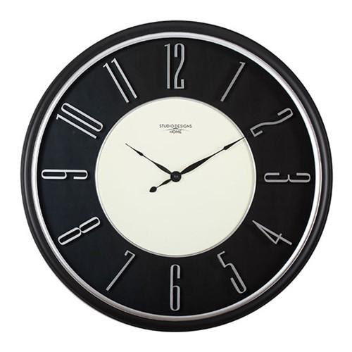 "Studio Design Home 29"" Modern Raised Numeral Wall Clock - Black"