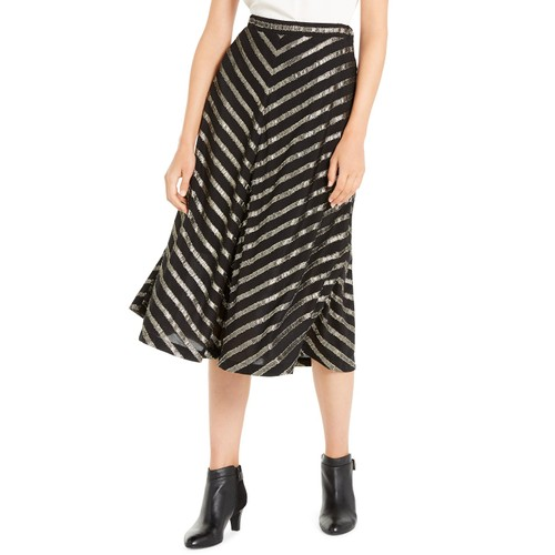 Alfani Women's Pleated Metallic-Stripe Skirt Black Size 14