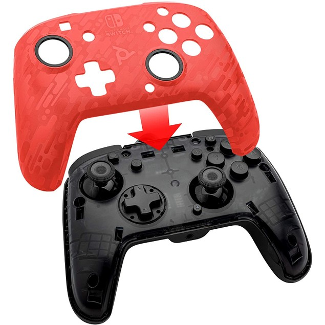 PDP Face off Deluxe Switch Controller and Audio (Camo Red) for Nintendo Swi