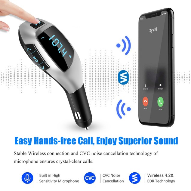 Car FM Wireless Bluetooth Transmitter USB Charge Hands-free Call