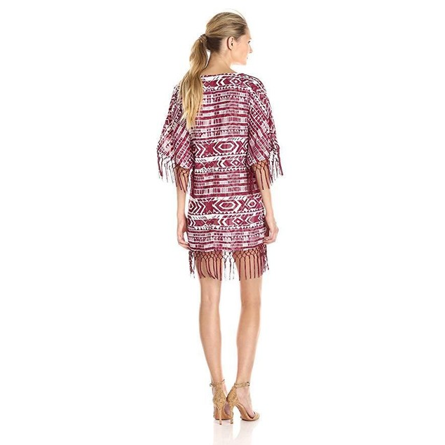 Sam Edelman Women's Cheyenne Fringe Beaded Poncho Dress, Port, X-Small