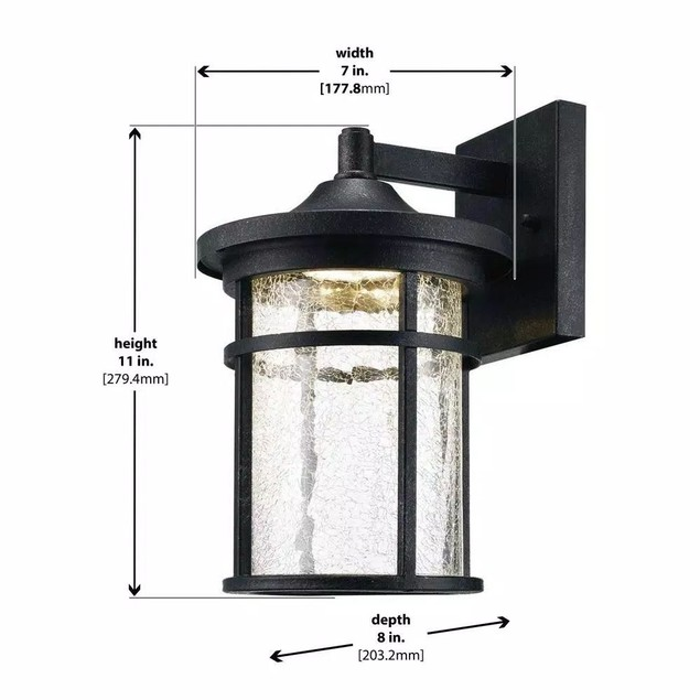 Home Decorators Collection Aged Iron Outdoor LED Wall Lantern with Crackle