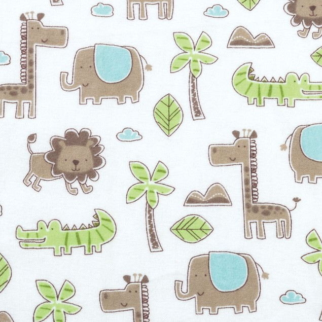 Trend Lab Sage Safari Animals Deluxe Flannel Fitted Crib Sheet