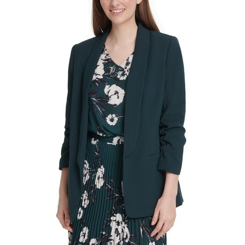 DKNY  Women's Ruched-Sleeve Open-Front Blazer Green Size 2