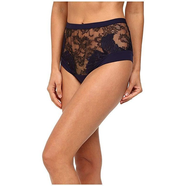 La Perla Women's Talisman High Waisted Brief, Black/Navy,  Sz MD