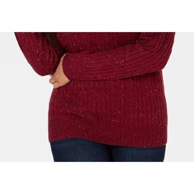 Karen Scott Women's Cable-Knit V-Neck Sweater Medium Red Size Medium