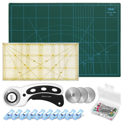 45MM ROTARY CUTTER TOOL KIT A3 CUTTING MAT 10 CLIPS SPARE BLADES