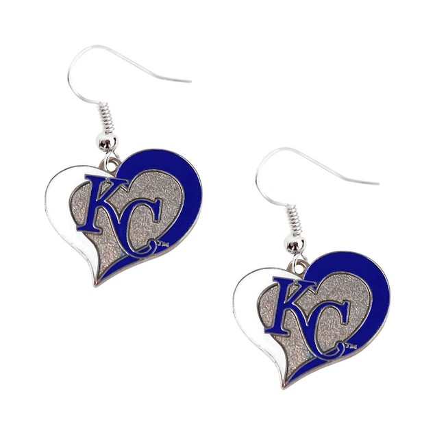 Kansas City Royals KC MLB Swirl Heart Dangle Logo Earring Set