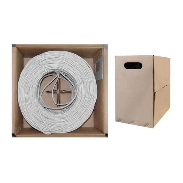 Plenum Cat6 Bulk Cable, White, Solid, UTP 1000 foot