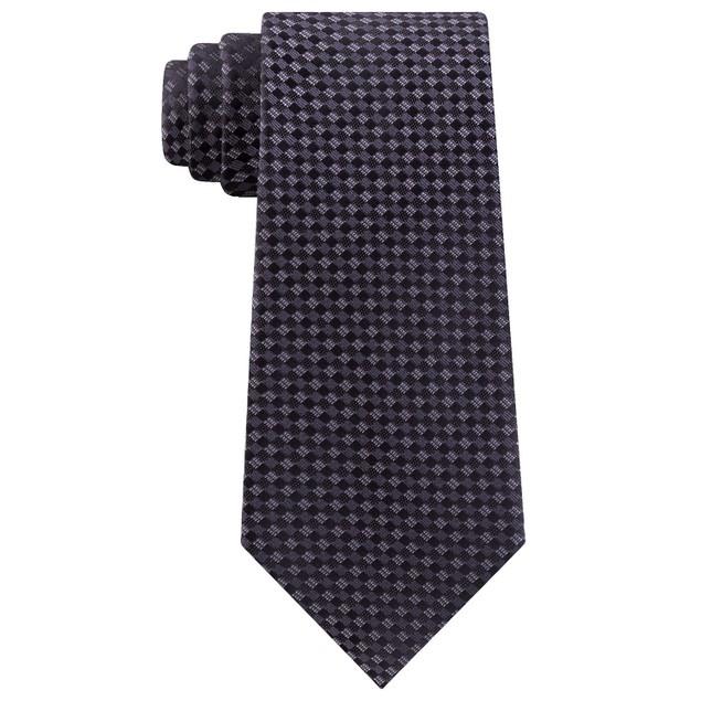 Kenneth Cole Reaction Men's Micro Checkerboard Slim Tie Gray Size Regular