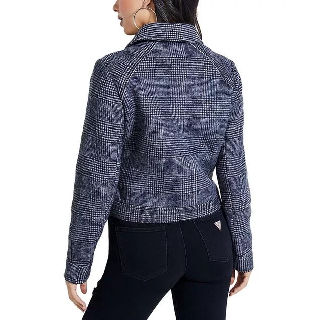 Guess Women's Plaid Moto Jacket Gray Size Large