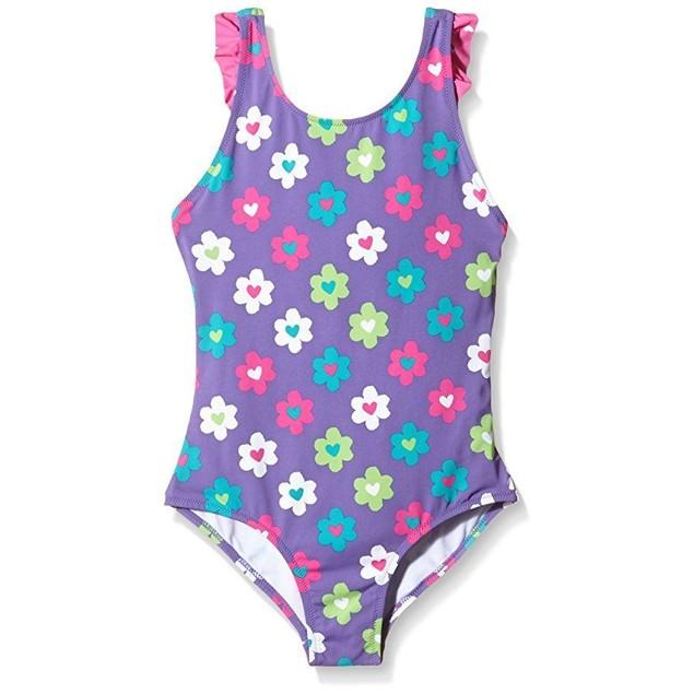 Hatley Little Girls Flower Garden Ruffle Swimsuit, Purple, 2