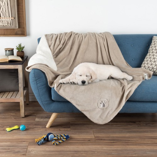 Waterproof Pet Blanket-50 in.x60 in. Soft Plush Throw Protects Couch